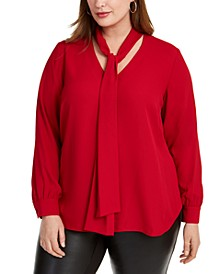 Trendy Trendy Plus Size Tie-Neck Top, Created For Macy's