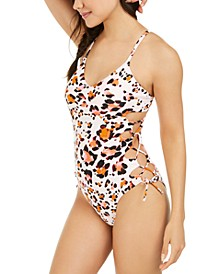Juniors' Wild About You Printed Side-Lace One-Piece Swimsuit, Created for Macy's