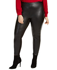 Trendy Trendy Plus Size Faux-Leather Skinny Pants, Created For Macy's