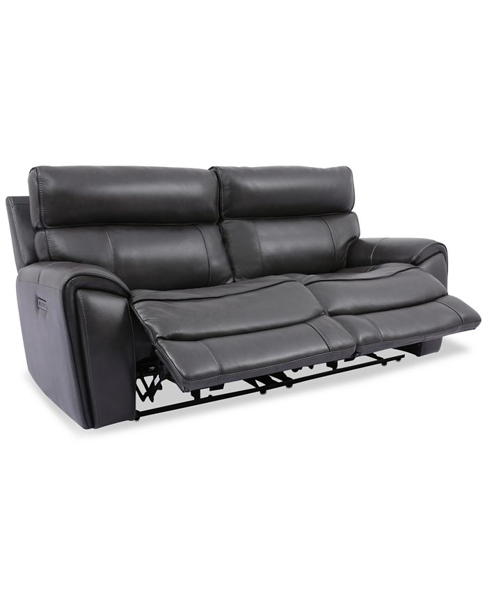 Furniture - Hutchenson 2-Pc. Leather Sectional with 2 Power Recliners and Power Headrests