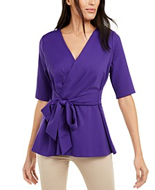 Petite Faux-Wrap Elbow-Sleeve Top, Created For Macy's