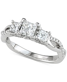 Diamond Princess Three-Stone Engagement Ring (1-3/8 ct. t.w.) in 14k White Gold