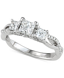 Diamond Princess Three-Stone Engagement Ring (1-3/8 ct. t.w.) in 14k White Gold