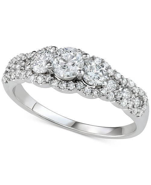 Macy's Diamond Three-Stone Cluster Engagement Ring (1 ct. t.w.) in 14k White Gold