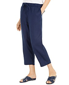 Linen Capri Tie-Waist Pants, Created for Macy's