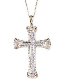 "Diamond Cross Pendant Necklace (1 ct. t.w.) in 14k Gold & White Gold, 16"" + 2"" extender"