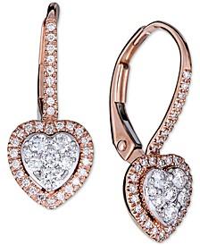 Diamond Halo Heart Dangle Drop Earrings (1/2 ct. t.w.) in 14k Rose Gold