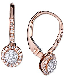 Diamond Halo Dangle Earrings (1/4 ct. t.w.) in 14k Rose Gold