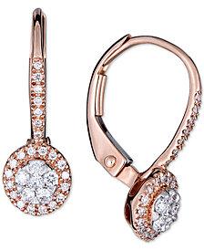 Diamond Halo Dangle Earrings (1/4 ct. t.w.) in 14k Rose Gold