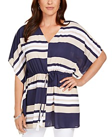 Tie-Waist Striped Poncho Top, Created for Macy's