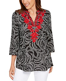 Petite Embroidered Split-Neck Tunic, Created for Macy's