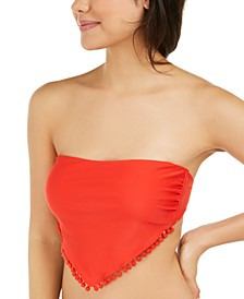 Juniors' Pom Pom Springs Solid Bandeau Bikini Top, Available in D/DD, Created for Macy's