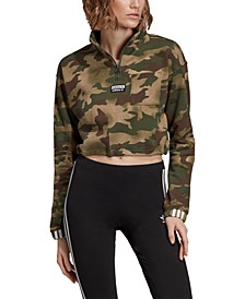 Women's Cotton Camo Cropped Half-Zip Sweatshirt