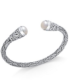 Cultured Freshwater Pearl (10mm) Filigree Cuff Bangle Bracelet in Sterling Silver