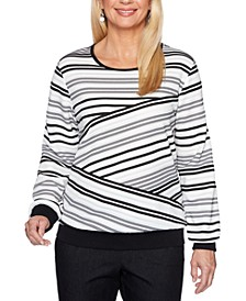 Well Red Biased-Stripe Knit Top
