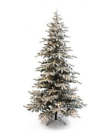 Pre-Lit Slim Flocked Christmas Tree with Clear LED Lights Collection