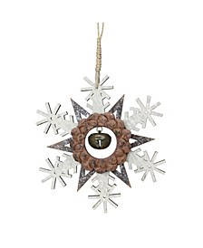 """6"""" Brown Wooden Snowflake Christmas Ornament with a Country Rustic Bell"""