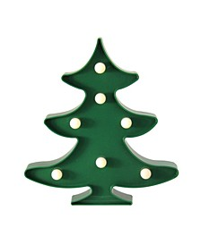 "8.75"" Battery Operated LED Lighted Green Christmas Tree Marquee Sign"