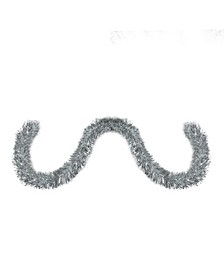 50' Traditional Shiny Silver 8 Ply Christmas Foil Tinsel Garland - Unlit