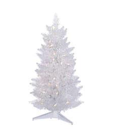 2' Pre-Lit White Christmas Table Top Tree with Warm White LED Lights