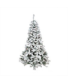 9' Pre-Lit Heavily Flocked Pine Medium Artificial Christmas Tree - Multi Lights