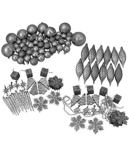 Northlight 125ct Silver Splendor Shatterproof 4-Finish Christmas Ornaments
