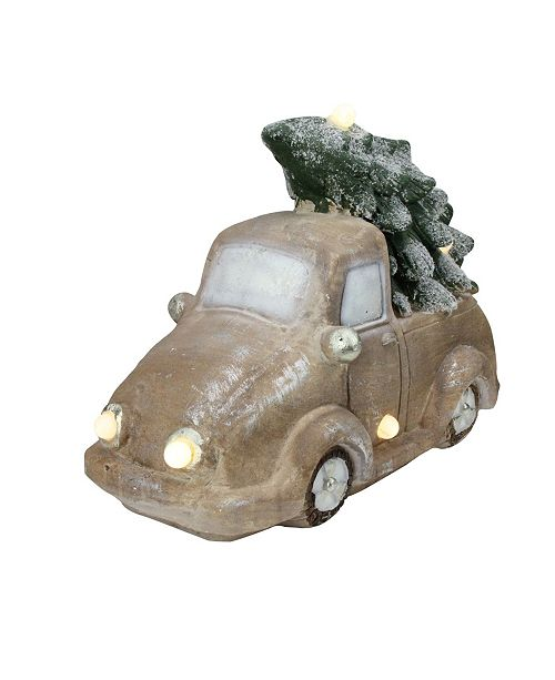 """Northlight 15.5"""" Lighted and Musical Vintage Truck with Christmas Tree Table Top Decoration"""