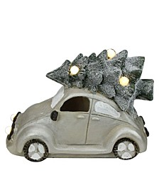 "13.5"" Lighted and Musical Vintage Beetle with Christmas Tree Decoration"