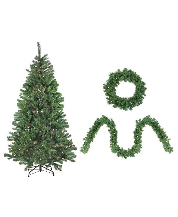 Northlight 4-Piece Artificial Winter Spruce Christmas Tree Wreath and Garland Set - Clear Lights