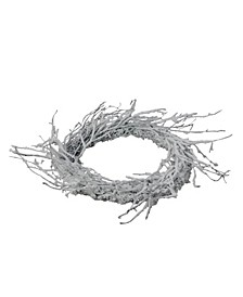 "24"" Snow Flocked and Iridescent Glitter Twig Artificial Christmas Wreath - Unlit"