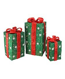 Set of 3 Tall Green Sisal Gift Boxes Lighted Christmas Yard Decor