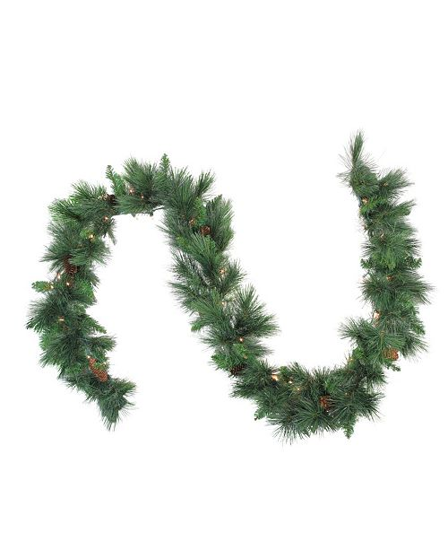 Northlight 9' x Pre-Lit White Valley Pine Artificial Christmas Garland - Clear Lights