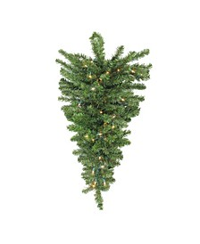 "30"" Pre-Lit Canadian Pine Artificial Christmas Teardrop Door Swag - Clear Lights"