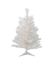 3'  Pre-Lit LED White Pine Artificial Christmas Tree - Clear Lights