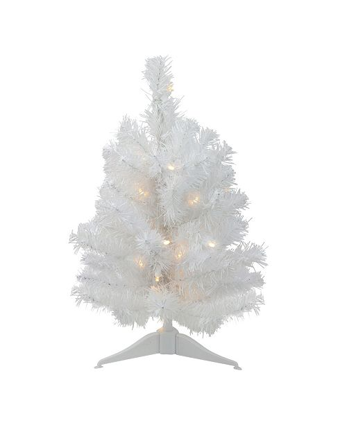 """Northlight 18"""" Pre-Lit LED Snow White Artificial Christmas Tree - Candlelight Lights"""
