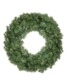 "24"" Pre-Lit LED Canadian Pine Artificial Christmas Wreath - Multi Lights"