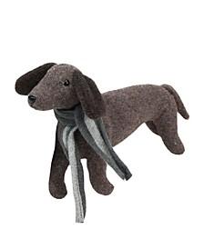 "7.5"" Plush Brown Dachshund Dog with Scarf Christmas Decoration"