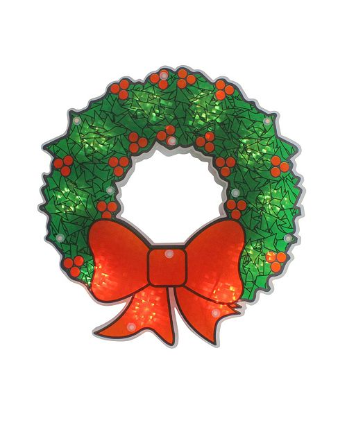 "Northlight 11"" Holographic Lighted Berry Wreath Christmas Window Silhouette"