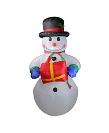 5' Inflatable Lighted Snowman with Gift Christmas Yard Art Decoration