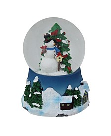 "4.75"" Musical Snowman Red Cardinal and Christmas Tree Snow Globe"