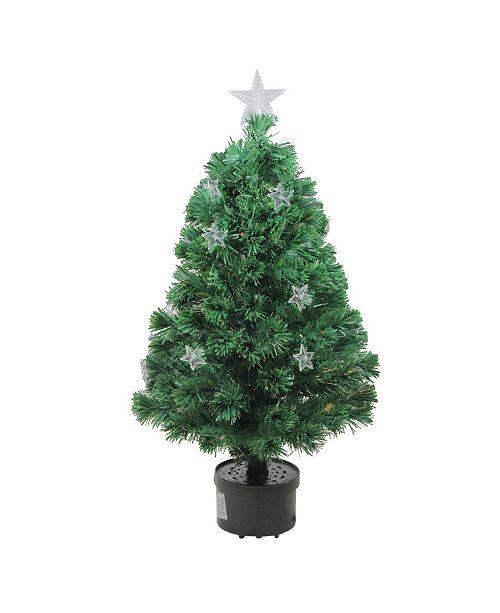 Northlight 3' Pre-Lit Fiber Optic Artificial Christmas Tree with Stars