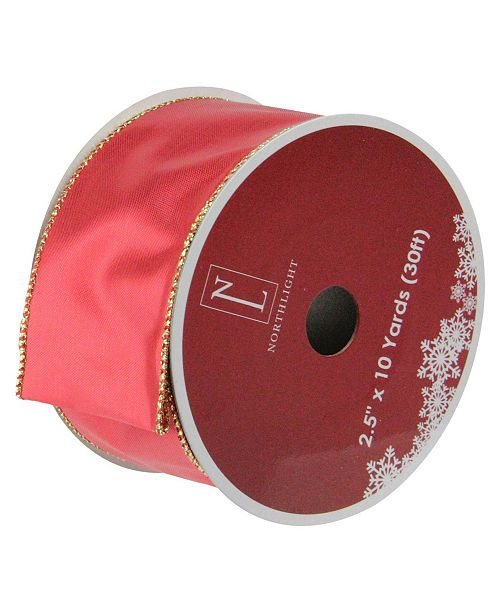 """Northlight Shiny Red and Gold Wired Christmas Craft Ribbon 2.5"""" x 10 Yards"""