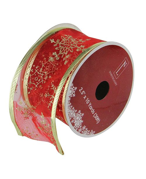 "Northlight Cranberry Red and Gold Glitter Snowflakes Wired Christmas Craft Ribbon 2.5"" x 10 Yards"
