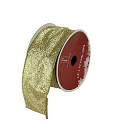 """Sparkling Solid Gold Wired Christmas Craft Ribbon 2.5"""" x 10 Yards"""