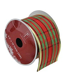 """Red and Green Stripe Wired Christmas Craft Ribbon 2.5"""" x 10 Yards"""