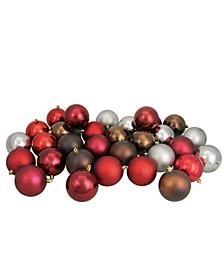 "32ct Red/Burgundy/Pewter Gray/Mocha Shatterproof Christmas Ball Ornaments 3.25"""