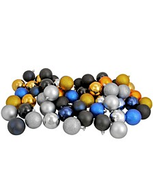 """60ct Black/Sapphire Blue/Antique Gold/Pewter Shatterproof 3-Finish Christmas Ball Ornaments 2.5"""""""