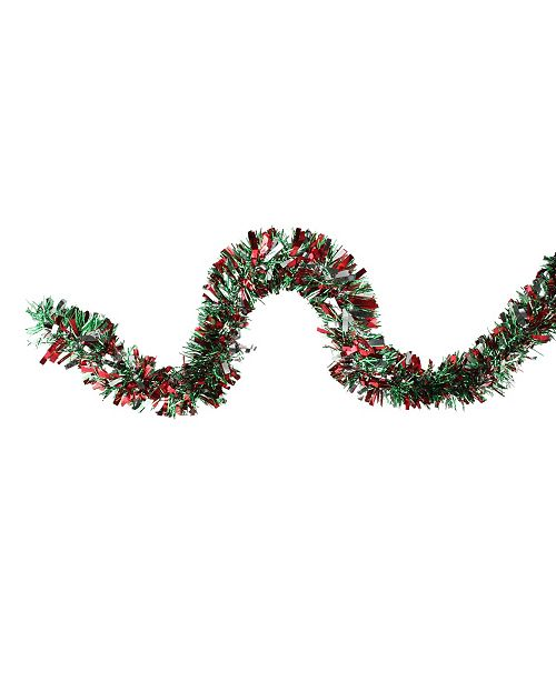 Northlight Shiny Green and Silver-Tone Christmas Tinsel Garland - Unlit