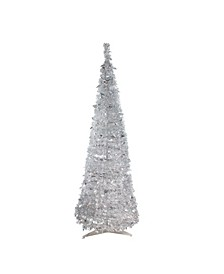 6' Pre-Lit Silver Tinsel Pop-Up Artificial Christmas Tree - Clear Lights