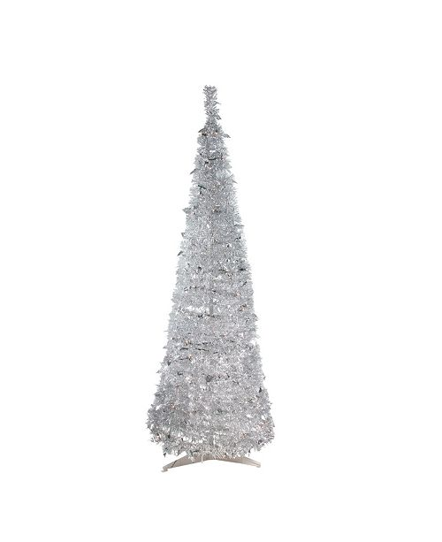 Silver Tinsel Pop Up Christmas Tree: Northlight 6' Pre-Lit Silver Tinsel Pop-Up Artificial